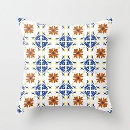 Talavera Floral Tiles Pattern Throw Pillow