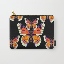 MODERN BLACK COLOR BUTTERFLY ABSTRACT Carry-All Pouch