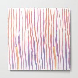 Vertical watercolor lines - pink and ultraviolet Metal Print