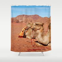 camel Shower Curtains featuring camel by lularound