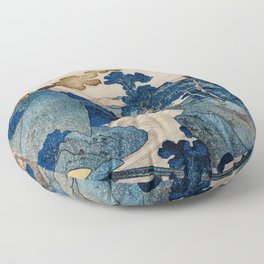 Cottages On Cliffs Traditional Japanese Landscape Floor Pillow