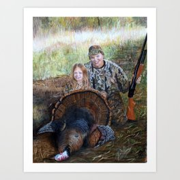 Father daughter hunters Art Print