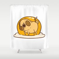 egg Shower Curtains featuring Puglie Egg by Puglie Pug