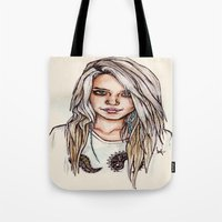 sky ferreira Tote Bags featuring Sky Ferreira by vooce & kat