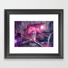 Galaxy space owl Framed Art Print