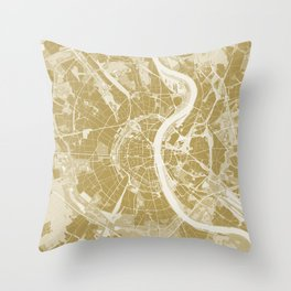 Cologne map gold Throw Pillow