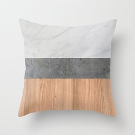 Carrara Marble, Concrete, and Teak Wood Abstract Throw Pillow