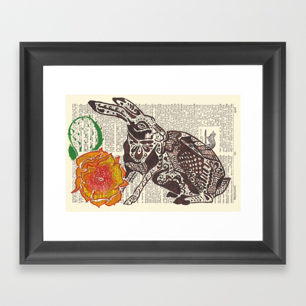 Jumpin' Jack Flash (jack Rabbit And Cactus Flower… Framed Art Print by Janinwise FRM928718