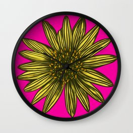Mellow Yellow Daisy on hot pink Wall Clock
