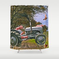 pigs Shower Curtains featuring Freedom Pigs by Jelly Roger