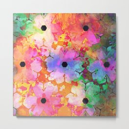 Watercolor Rainbow Flowers Metal Print