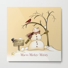 Warm Winter Wishes Snowman Sleigh Rides Red Bird Metal Print