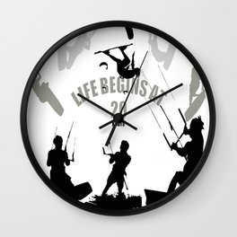 Life Begins At 20 Knots For Kitesurfers Wall Clock