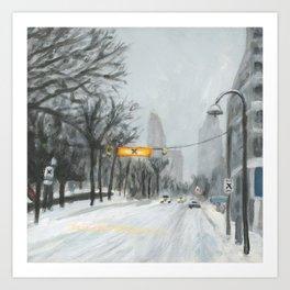 Esplanade Snowstorm Art Print