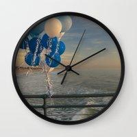 santa monica Wall Clocks featuring Santa Monica pier 4 by Umbrella Design
