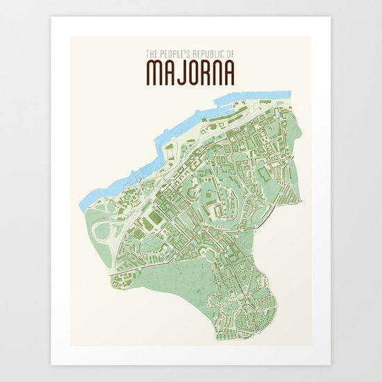 Map of the people's republic of Majorna Art Print