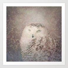 Snowy Owl in the snow Art Print
