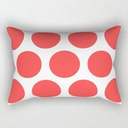 Large Polka Dots: Coral Pink Rectangular Pillow