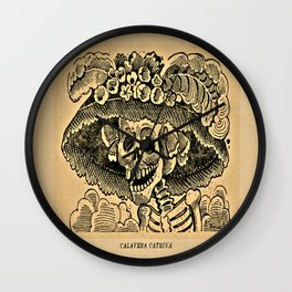 La Calavera Catrina - Dapper Skeleton, zinc etching Wall Clock
