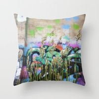 cycle Throw Pillows featuring Cycle by Calle de Rosa