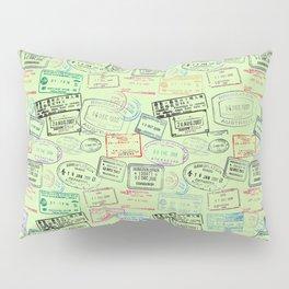Worldly Traveler - Passport Pattern - Light Green Pillow Sham