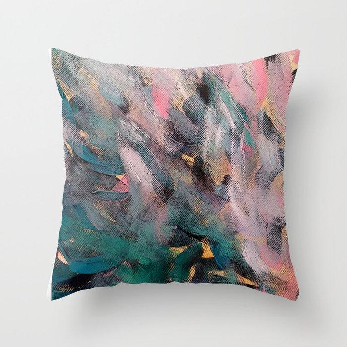 Blue Feather Throw Pillow