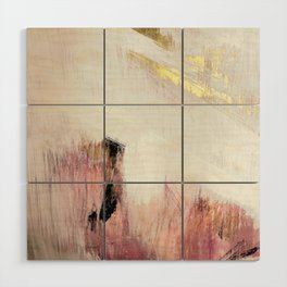 Sunrise [2]: a bright, colorful abstract piece in pink, gold, black,and white Wood Wall Art