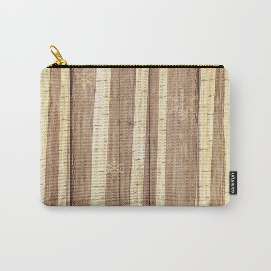 Christmas Pattern on Wood 03 Carry-All Pouch