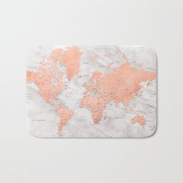 """Rose gold and marble world map with cities, """"Janine"""" Bath Mat"""