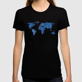 Map - Blue World Map Watercolor T-shirt