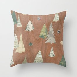 Retro Christmas on Wood Throw Pillow