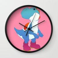 yoshi Wall Clocks featuring Yoshi Blue by bloozen