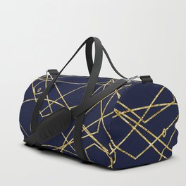 Geo Gold Blue Abstract Duffle Bag
