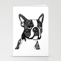 boston terrier Stationery Cards featuring Boston Terrier by DayLee Doodler