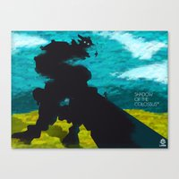 shadow of the colossus Canvas Prints featuring Shadow Of The Colossus Minimalist Cloudy Poster by LoweakGraph