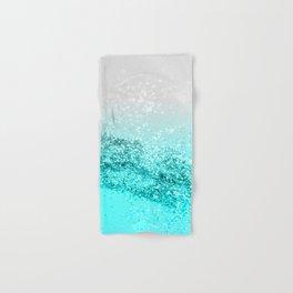 Silver Gray Aqua Teal Ocean Glitter #1 #shiny #decor #art #society6 Hand & Bath Towel