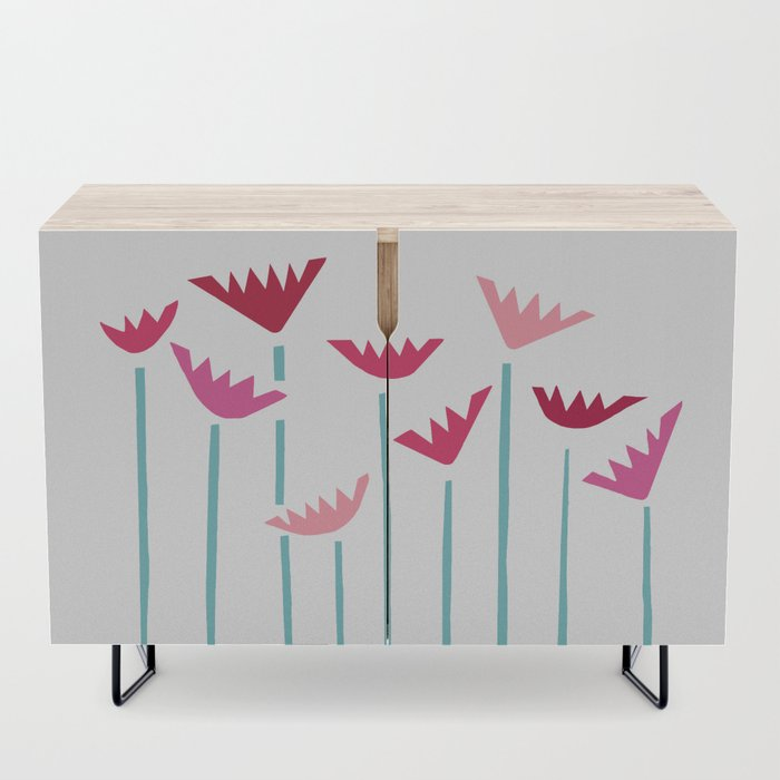 Teal and Pink Tropical Plants Collage Credenza