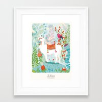 llama Framed Art Prints featuring Llama by The Wildest Little Things