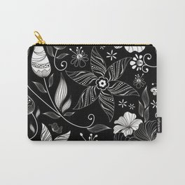 floral flower rose black leafe Carry-All Pouch