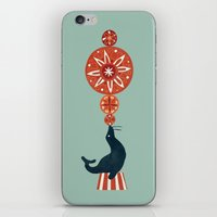 seal iPhone & iPod Skins featuring Circus Seal by Picomodi
