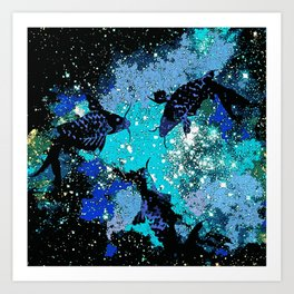 Koi In A Pond of Stars Art Print