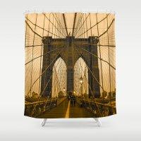 brooklyn bridge Shower Curtains featuring Brooklyn Bridge by Félix Pagaimo