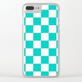 Aqua Blue Checkers Pattern Clear iPhone Case