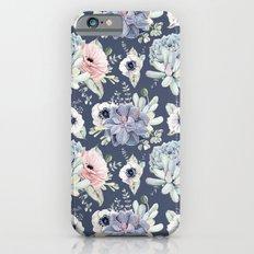 Beautiful Succulent Garden Navy Blue + Pink Slim Case iPhone 6s