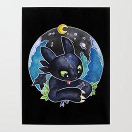 Baby Toothless Night Fury Dragon Watercolor black bg Poster