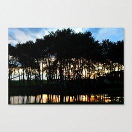 Sunset through a slough in Saskatchewan Canvas Print