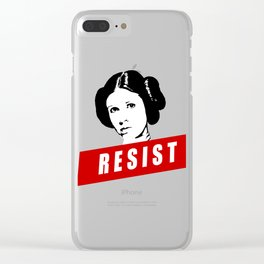 Princess Leia RESIST Star War black white red join the resistance Clear iPhone Case