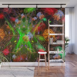 Bioluminescent Plankton and Jellyfish Wall Mural