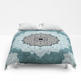 Dream Weaver Bohemian Mandala Black Blue White Comforters