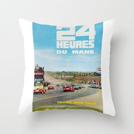 1965 Le Mans poster, Race poster, car poster, garage poster Throw Pillow